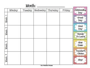 Use Idea For Monthly Behavior Calendars Polka Dot Clip Chart