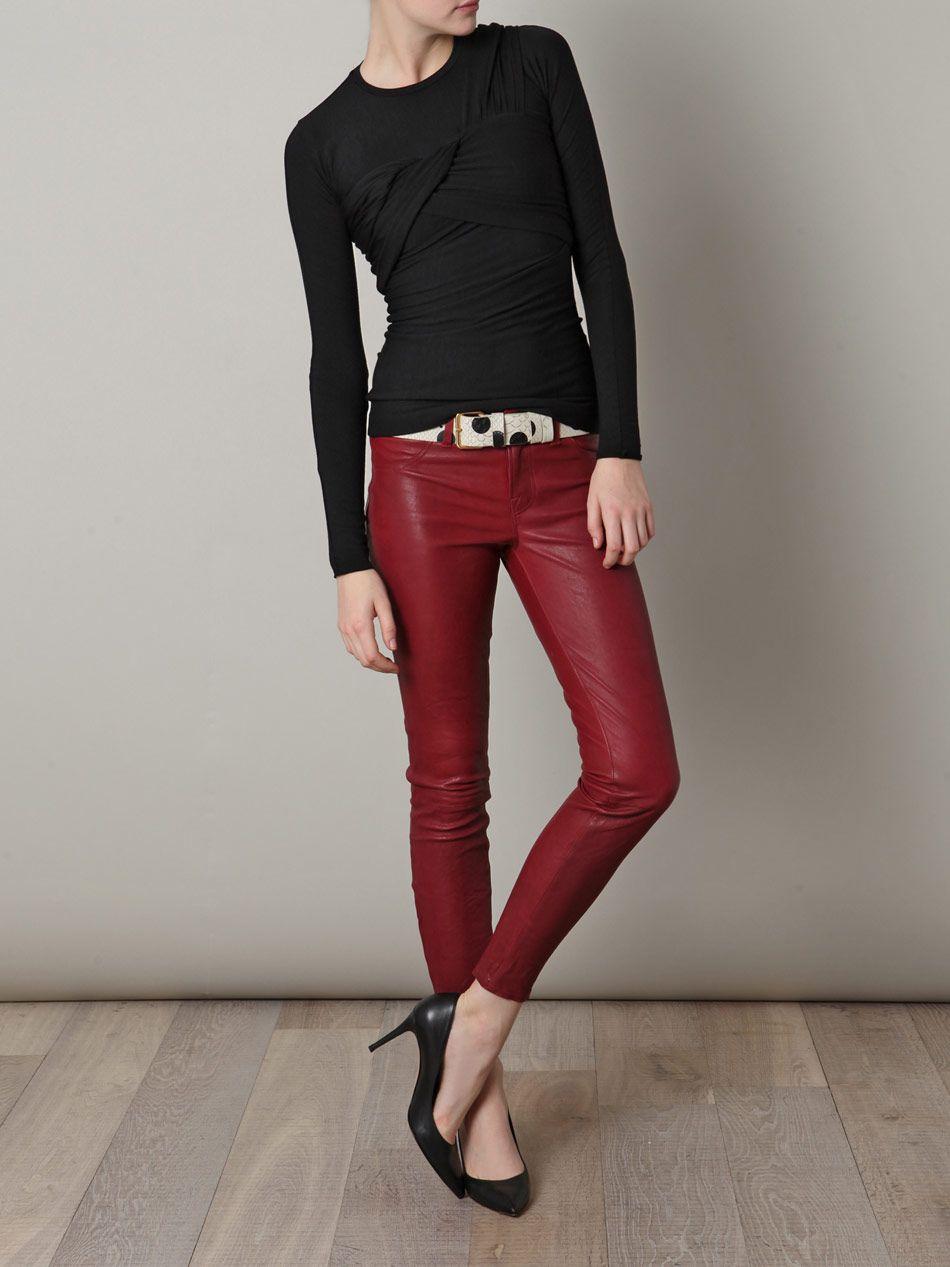 Dark red leather pants - in my long skinny legged dreams