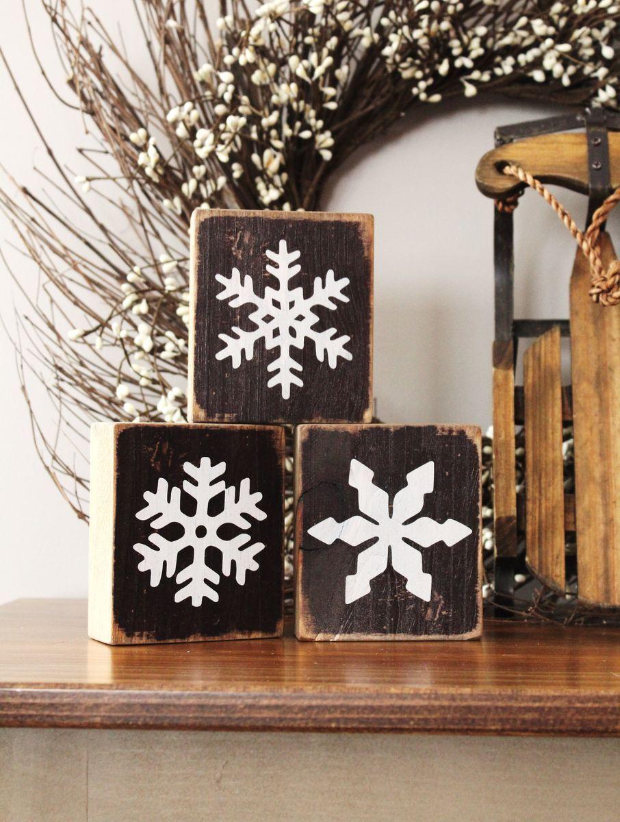 snowflake blocks (use paint instead of vinyl to keep it ...
