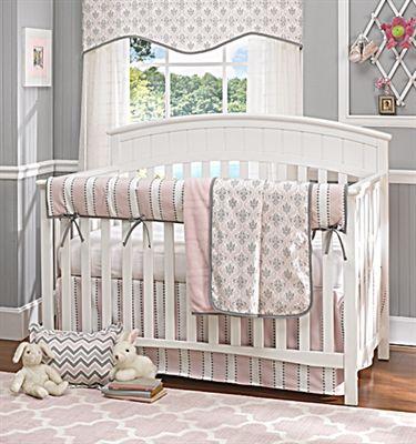 Bella Pink And Gray Damask Bumperless Crib Bedding Baby Girl