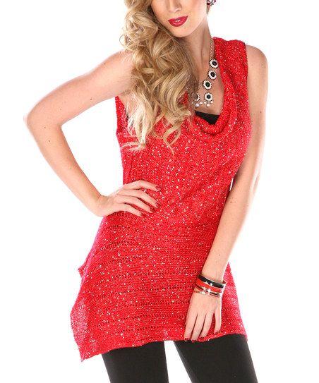 Red Sequin Cowl Neck Top