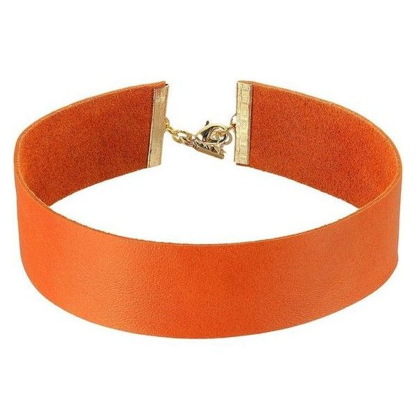Vanessa Mooney The Violet Choker Necklace (Orange) Necklace ❤ liked on Polyvore featuring jewelry, necklaces, leather jewelry, multi color necklace, choker necklace, orange necklace and tri color necklace