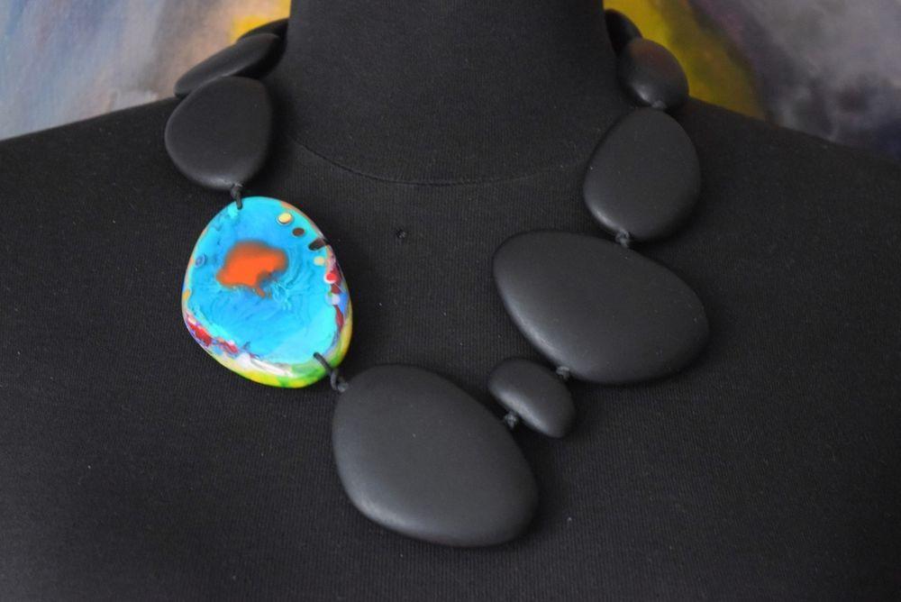 Sobral ENCANTO KANDINSKY Matte Black Multicolour Abstract Resin Bead Necklace #Sobral #Statement