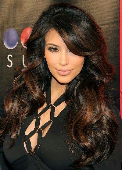 Big Hair Wavy Curls Side Swoop Bangs Long Dark Hair With Copper Highlights Kardashian Hair Color Hair Highlights Kim Kardashian Hair