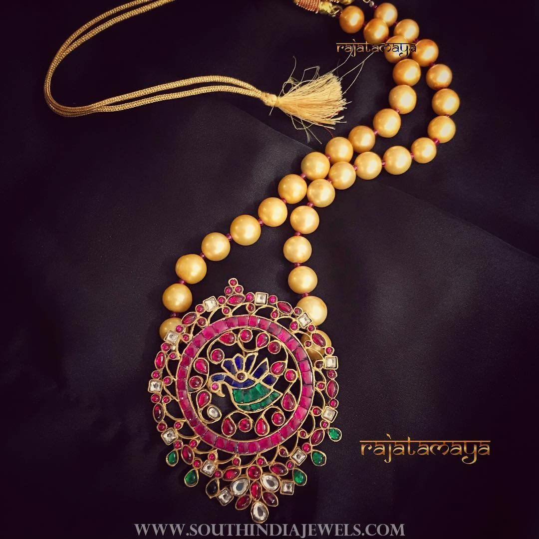 Short pearl mala with ruby pendant favourite jewellery pinterest