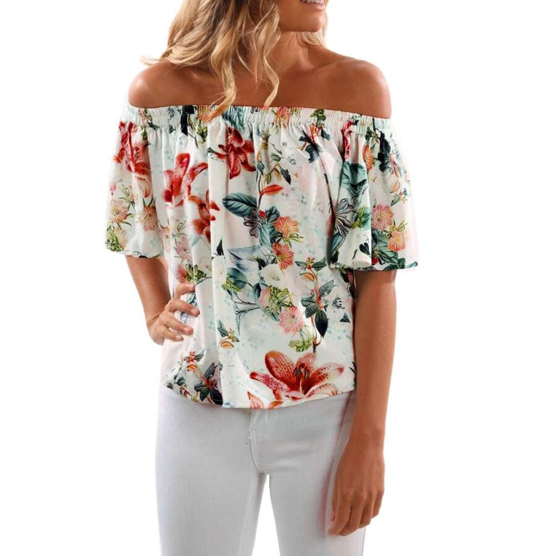 79a4801e3e85ad Dacawin Women s Slash Neck Sleeveless Off Shoulder Floral Printed Casual  Tops (M