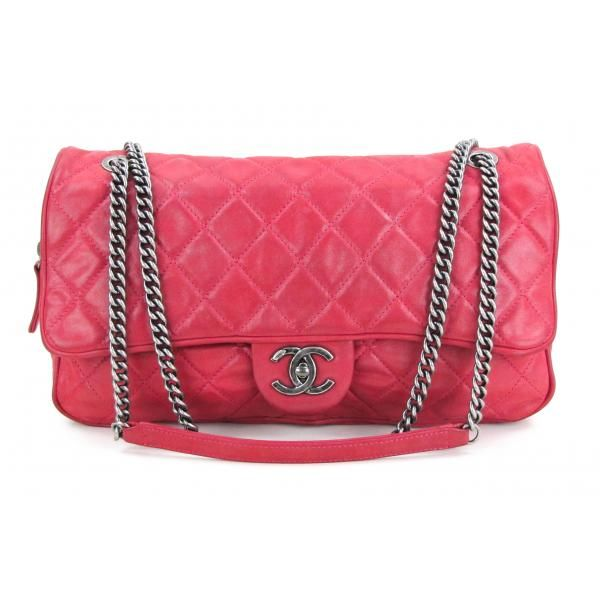 e0fa1eafa37efb Chanel Pink Quilted Metallic Leather Large Shiva Flap Bag | Fabulous ...
