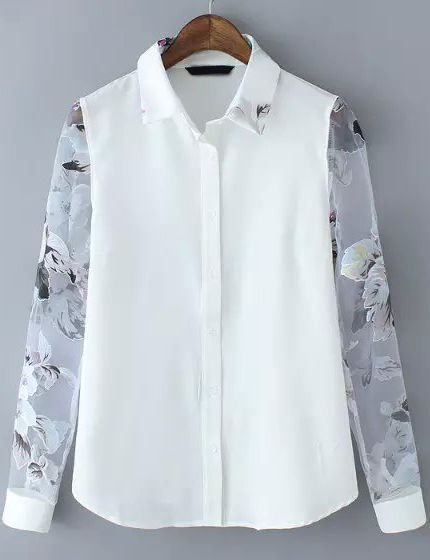1b0fcf6a290b15 White Sheer Organza Long Sleeve Floral Blouse 16.00