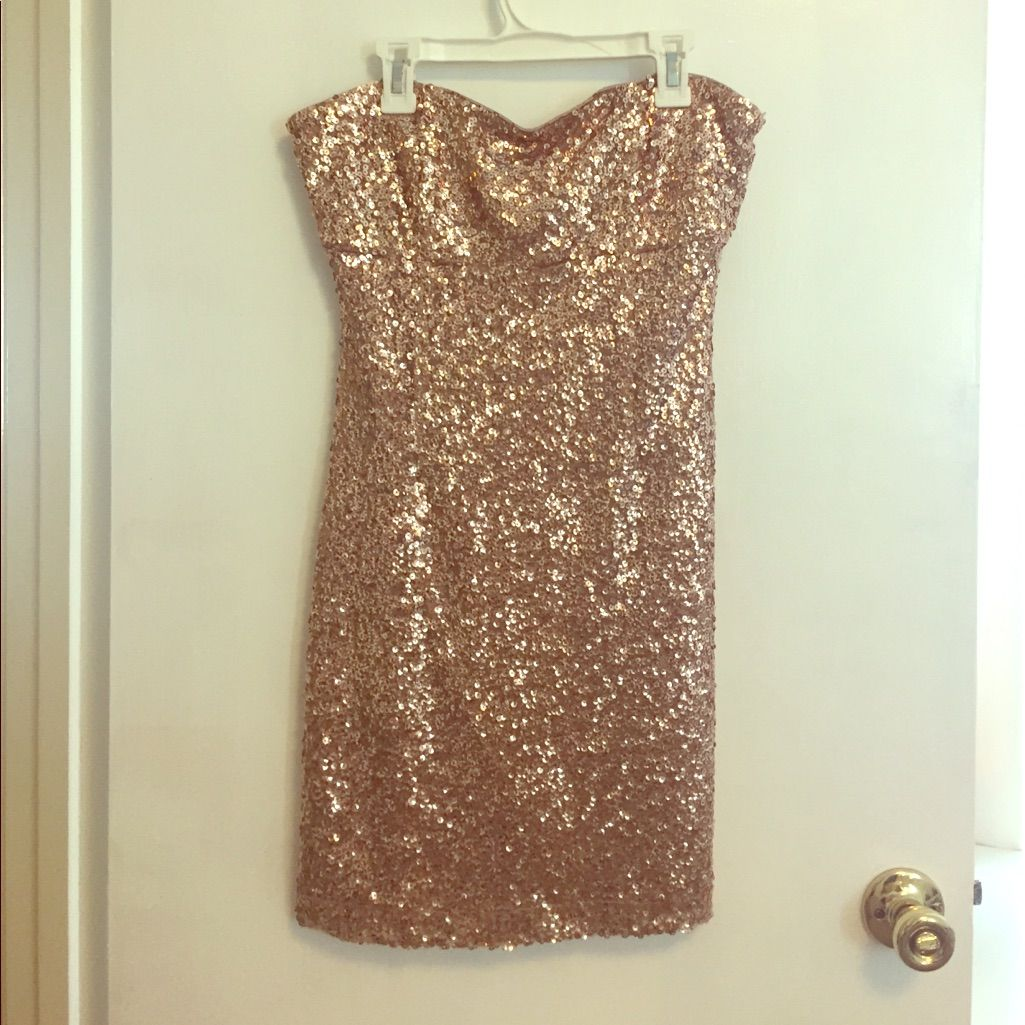 Forever strapless gold sequin dress m products