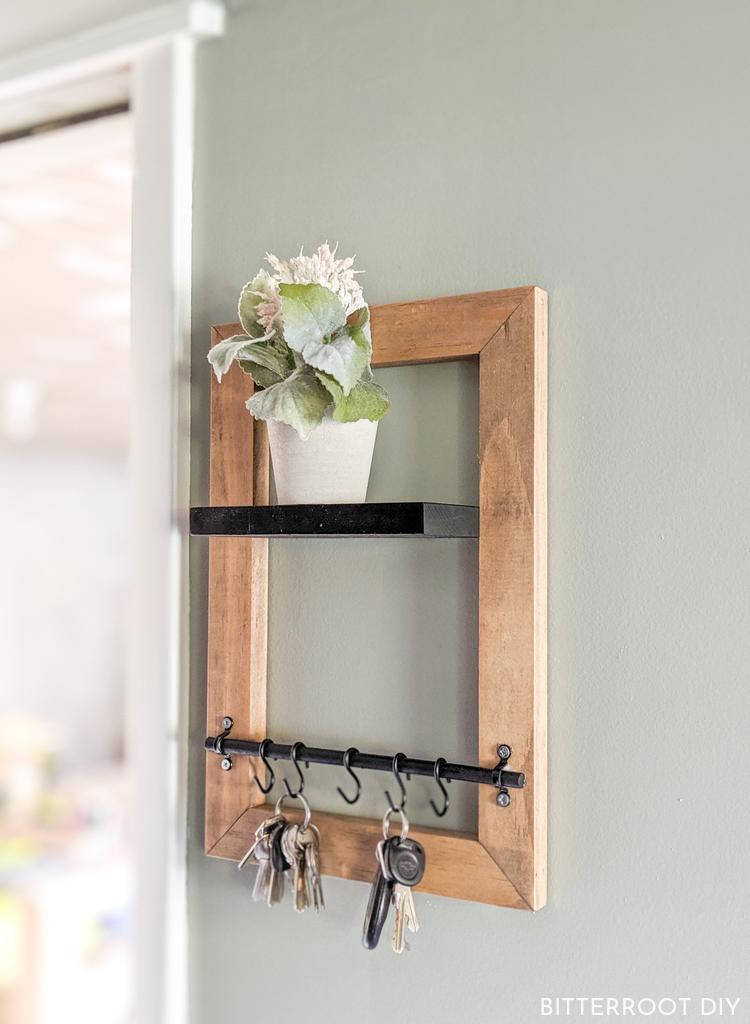Diy Key Holder With Floating Shelf Key Holder Diy Diy Interior Doors