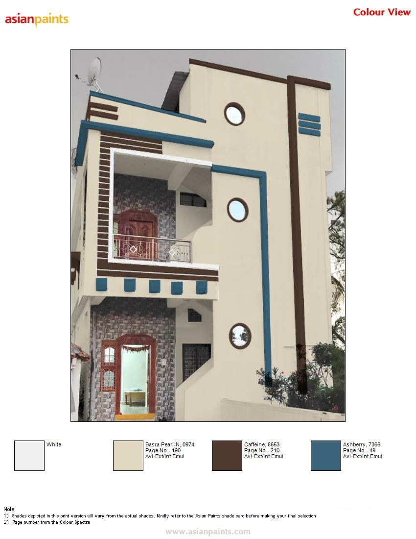 Pin By Manu 919441818532 On Top 200 Asian Paints Color Views House Balcony Design House Paint Color Combination Small House Front Design