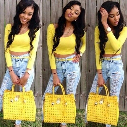 Summer Spring Fashion Outfit Yellow Top Acid Wash Ripped Jeans Handbag Pretty Girl Swag Dope