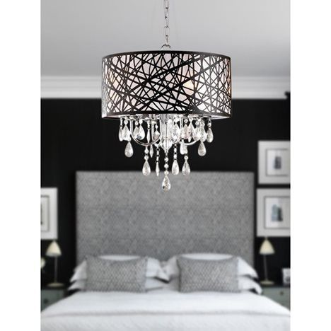 4 Light Drum Shade Chrome and Crystal Chandelier-11 Main