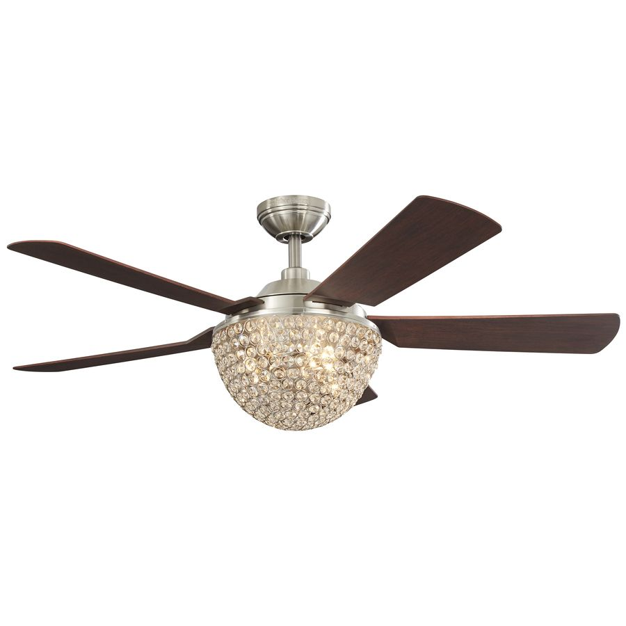 Harbor Breeze Parklake 52 In Brushed Nickel Indoor Downrod Mount Ceiling Fan With Light Kit And Remote Ceiling Fan With Light Fan Light Ceiling Fan