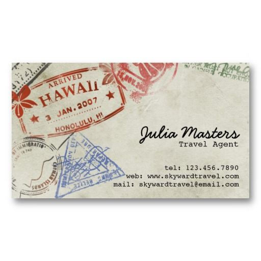 Pport Stamps Style 2 Travel Agent Business Cards