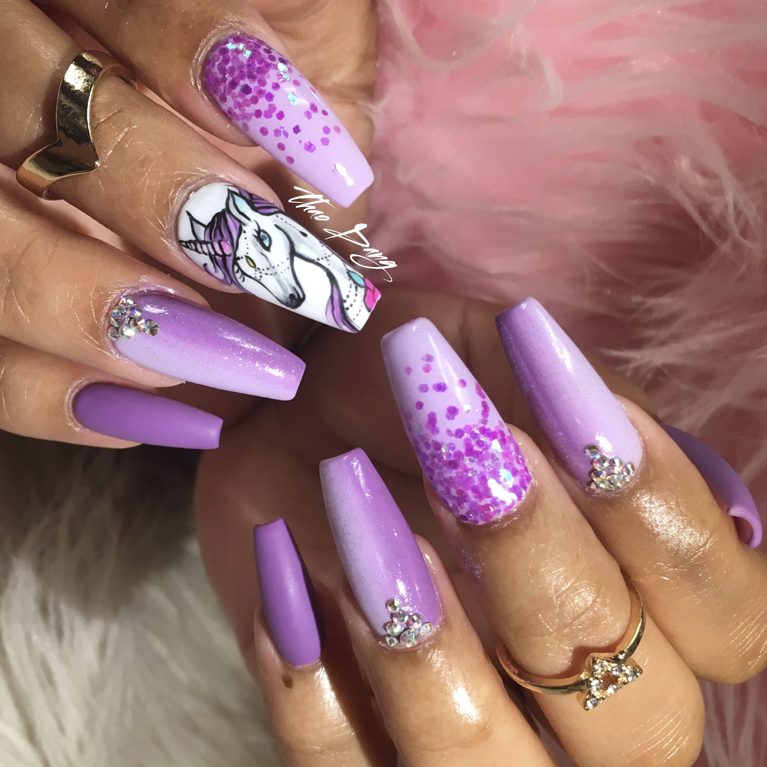 Hand Paint Unicorn Nail Art Nailsbytdang Pink Glitter Nails Coffin Nails Designs Nails Inspiration