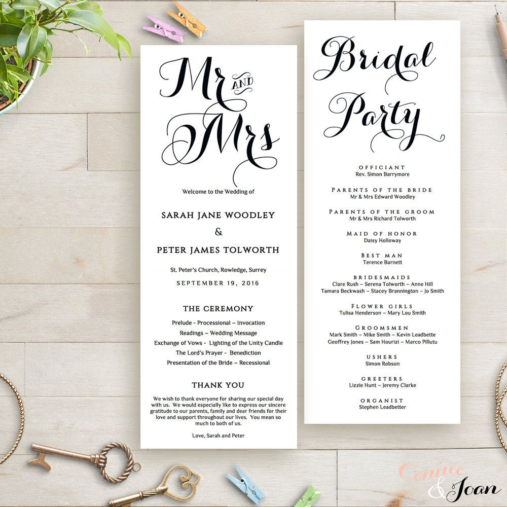 printable wedding program order of service template