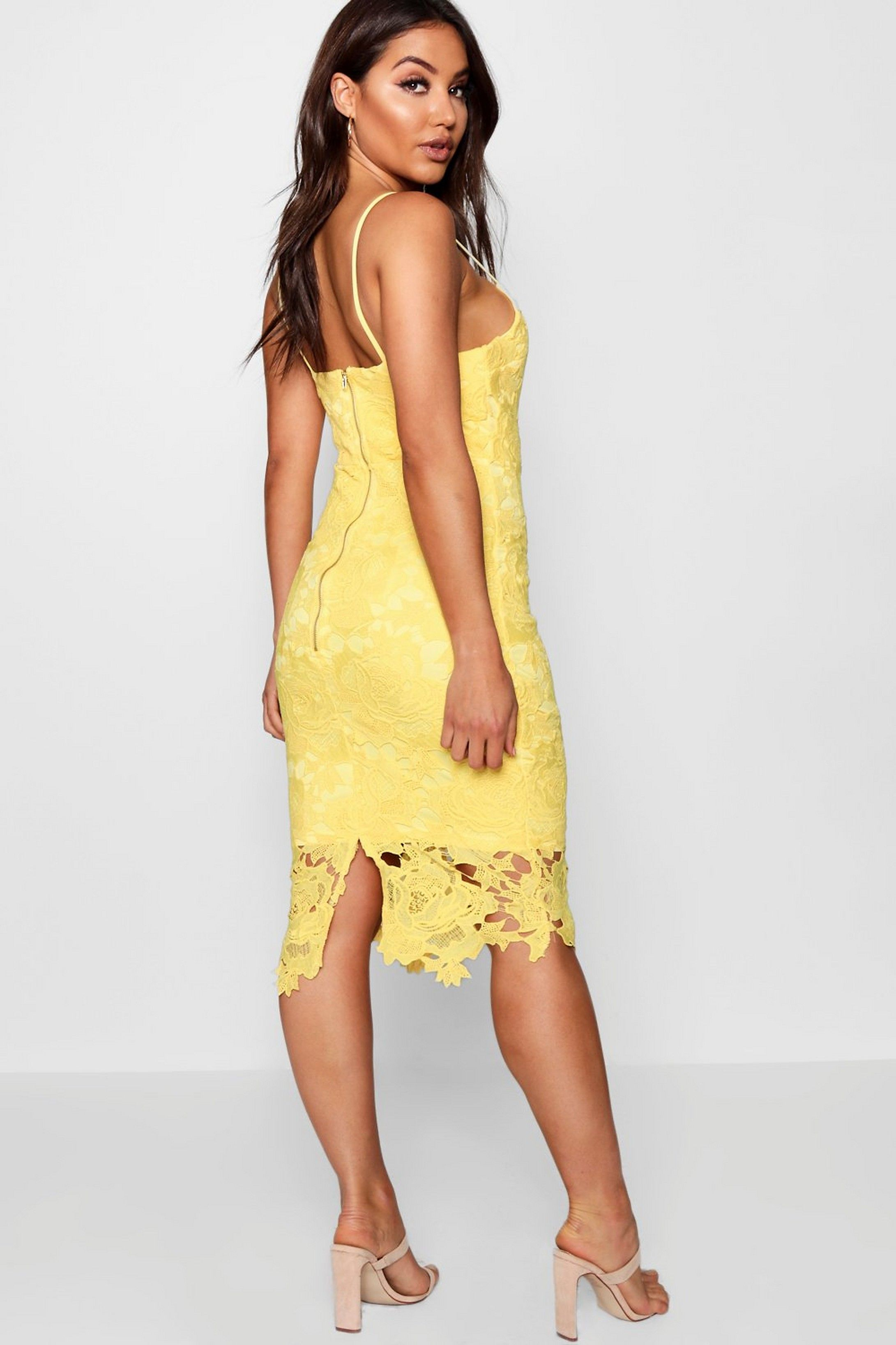 Boutique Crochet Lace Strappy Midi Dress Boohoo Yellow Lace Dresses Crochet Lace Dress Midi Dress [ 3272 x 2181 Pixel ]