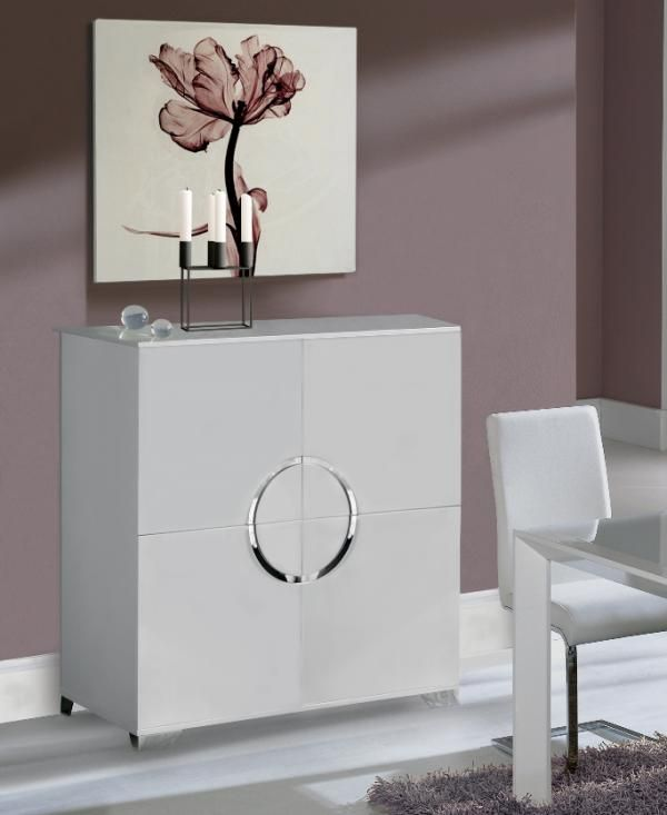 Luna Modern 4 Door Cabinet In High Gloss White Finish Chrome Legs Dining Room