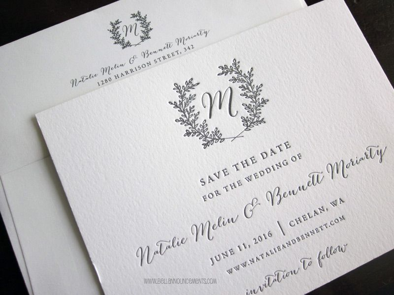 Letterpress Wreath Monogram Save the Date Gray Ink on White