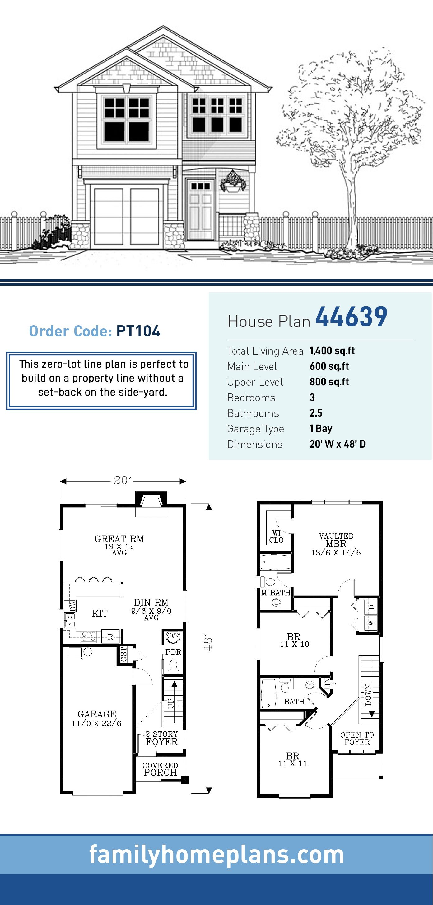 Traditional Style House Plan 44639 With 3 Bed 3 Bath 1 Car