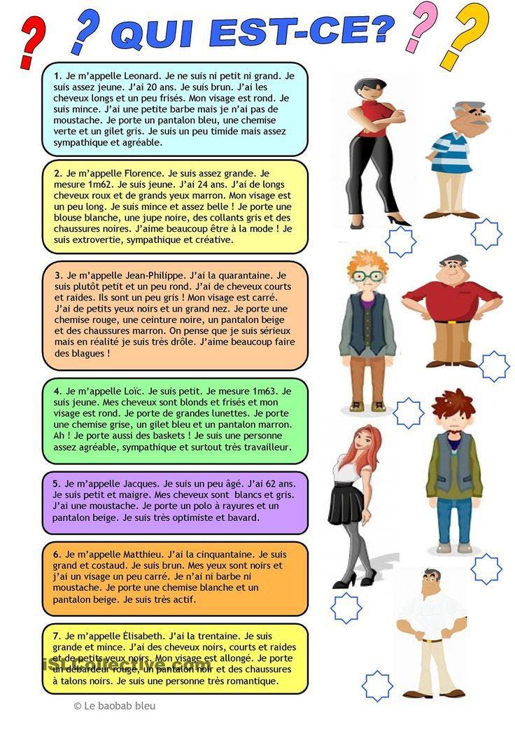 Extrêmement Mon blog de français: Description physique et vêtements   French  PD19