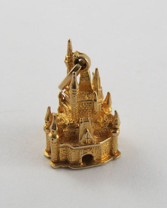 Walt Disney Castle 14 Karat Gold Charm For A Bracelet It Has Arch Door At The Front And Back You Can See Through To Other Side