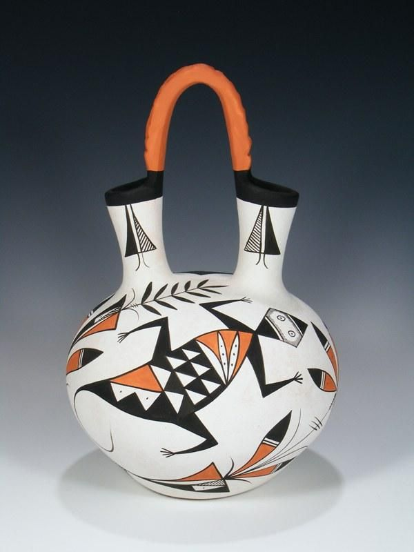 Acoma Pueblo Pottery Painted Wedding Vase Pottery Painting And