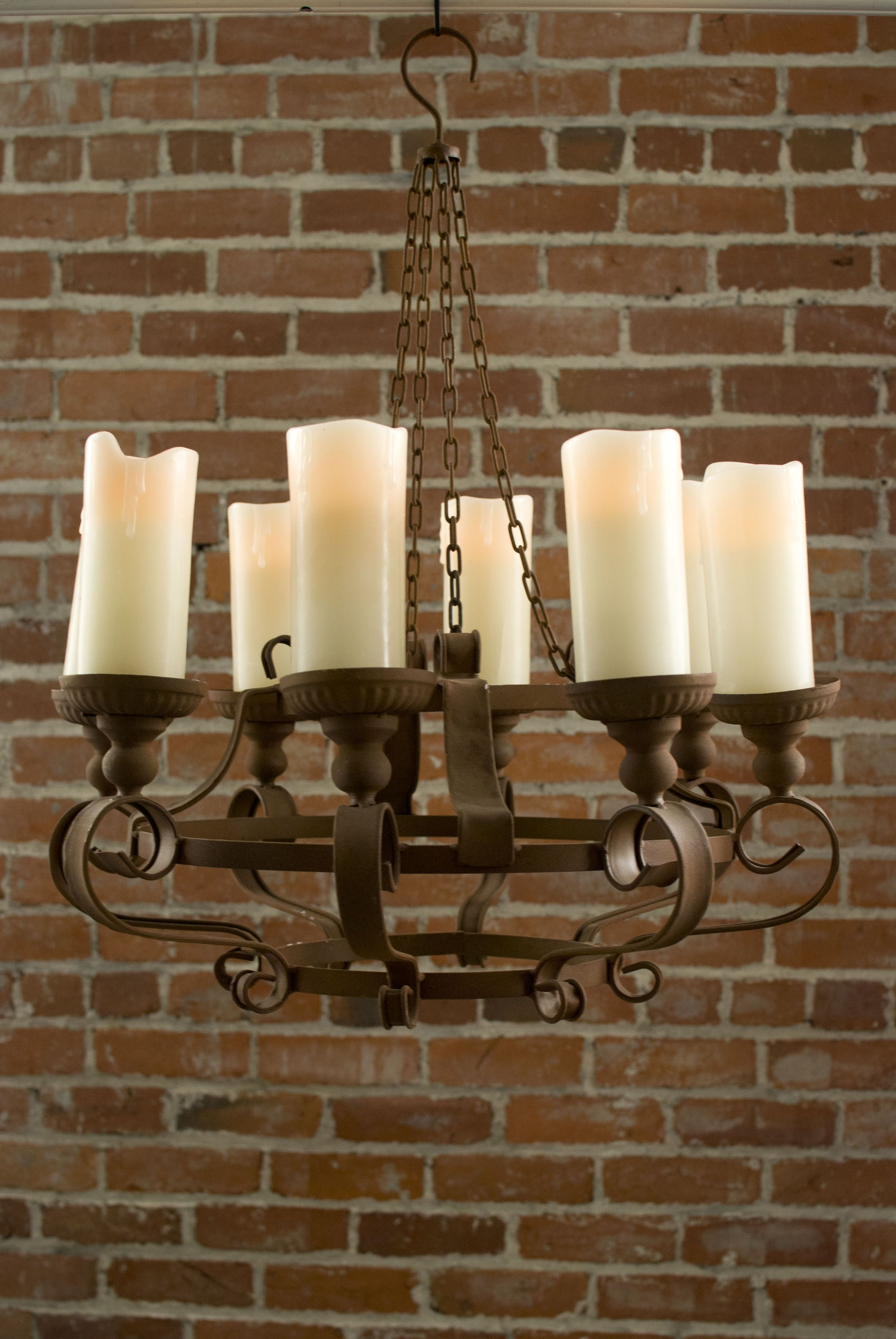 rustic chandeliers with battery powered led candles. no power