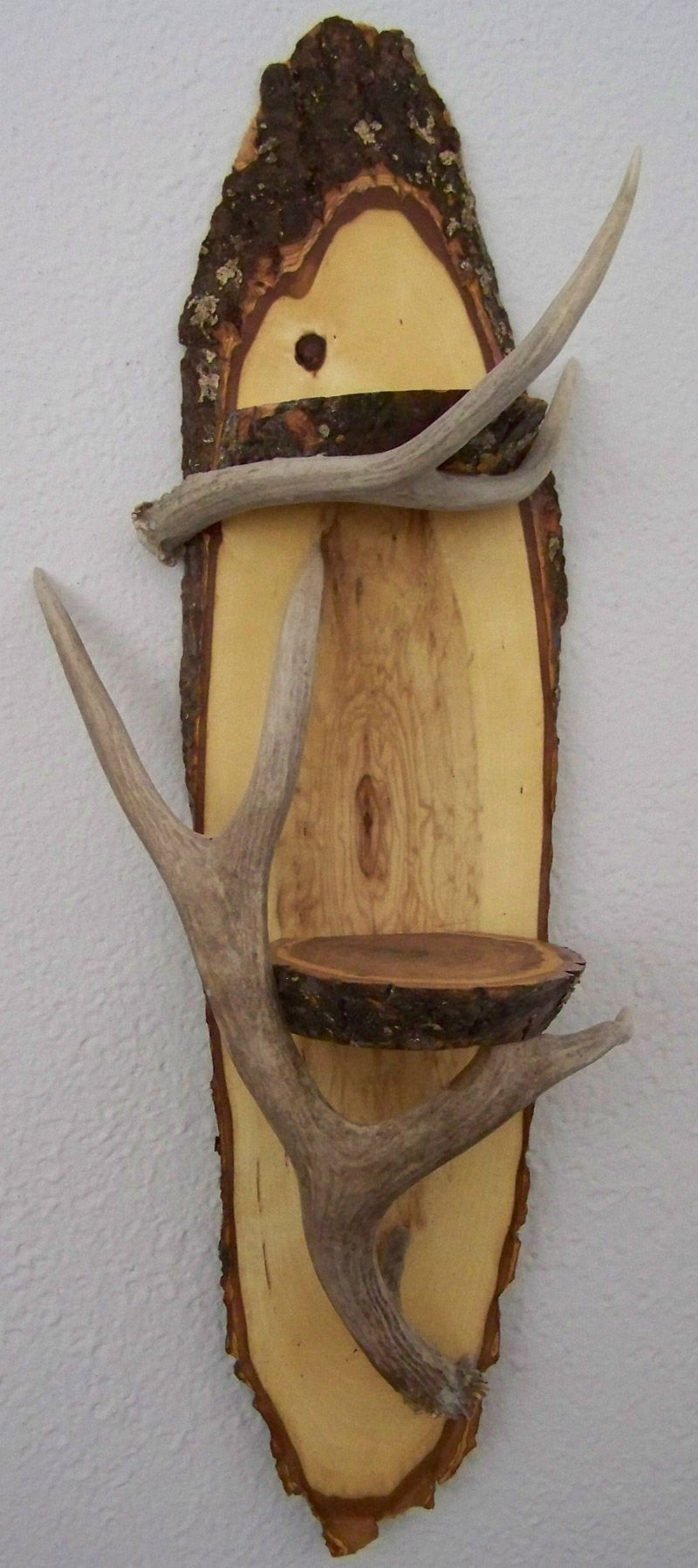 Double antler shelf love also great for that at home for Antler decorations for home