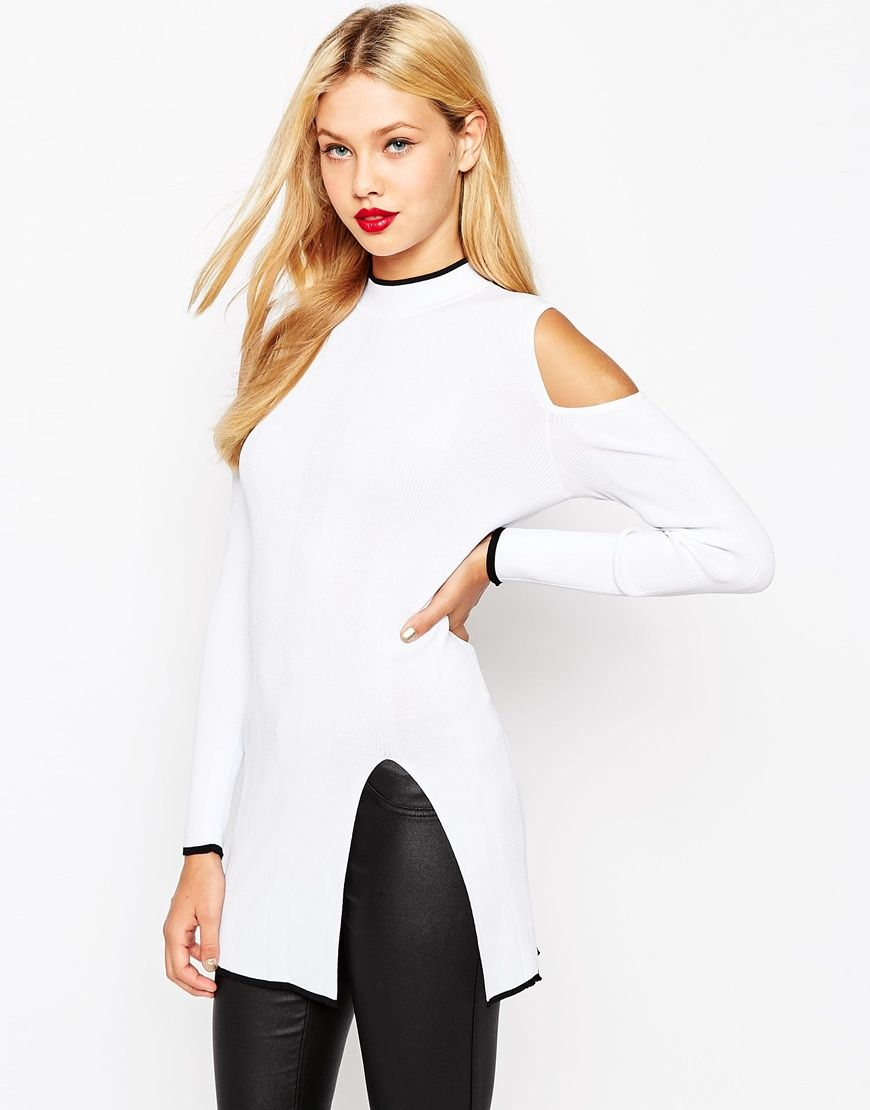 ASOS High Neck Tunic With Cold Shoulder and Side Split