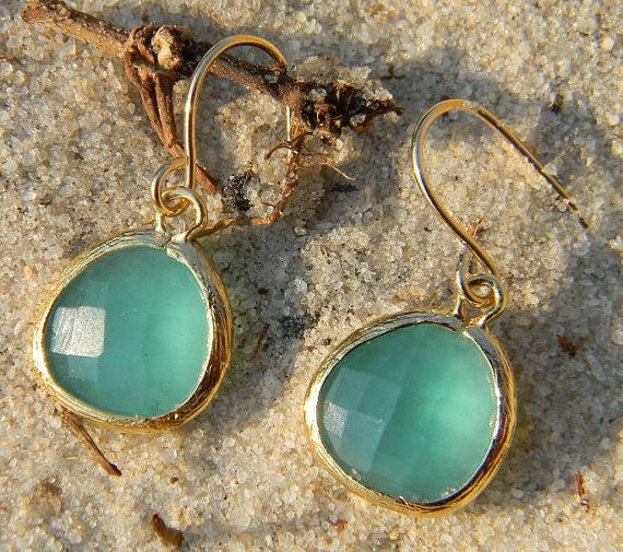 Aqua Blue Earrings In Gold Jewelry Bridal By Greenperidot On Etsy 19 50