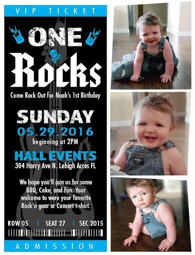 one rocks birthday invite 1st boy