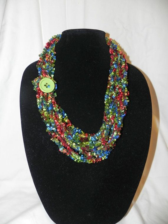 Chain Crochet Ladder Ribbon Yarn Necklace Scarf with Button ...