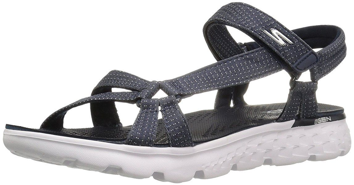 The Go 400 Tropical, Flip Flop Femme, Bleu (NVY), 35 EUSkechers