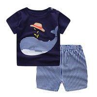 Neugeborene Baby Jungen Jungen Cartoon Whale Tops Shirt + Hosen Outfits Set Brainstorm | Wunsch