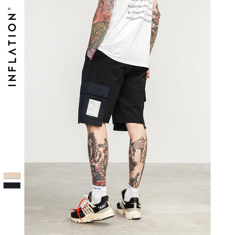 da7063533 INFLATION Pocket Patchwork Shorts Overalls Loose Casual Shorts Mens Fashion  Male Brand Clothing Shorts Trouser 8415S