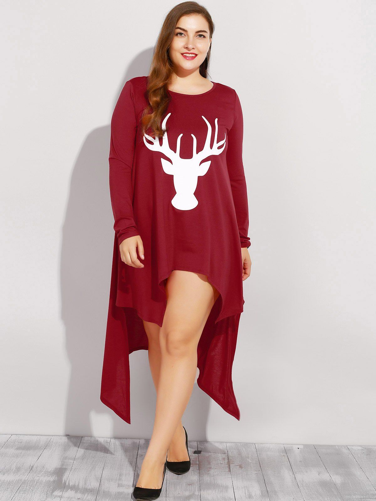 happy christmas | only $3.99 | elk print asymmetric plus size