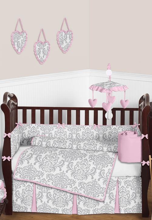 Elizabeth Pink And Gray Baby Damask Crib Bedding Baby Bed Crib Sets Crib Bedding