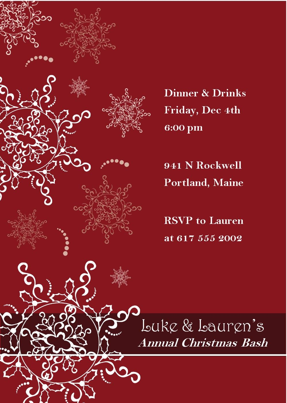 Christmas Dinner Invitation Template Free payroll slip sample of – Free Dinner Invitation