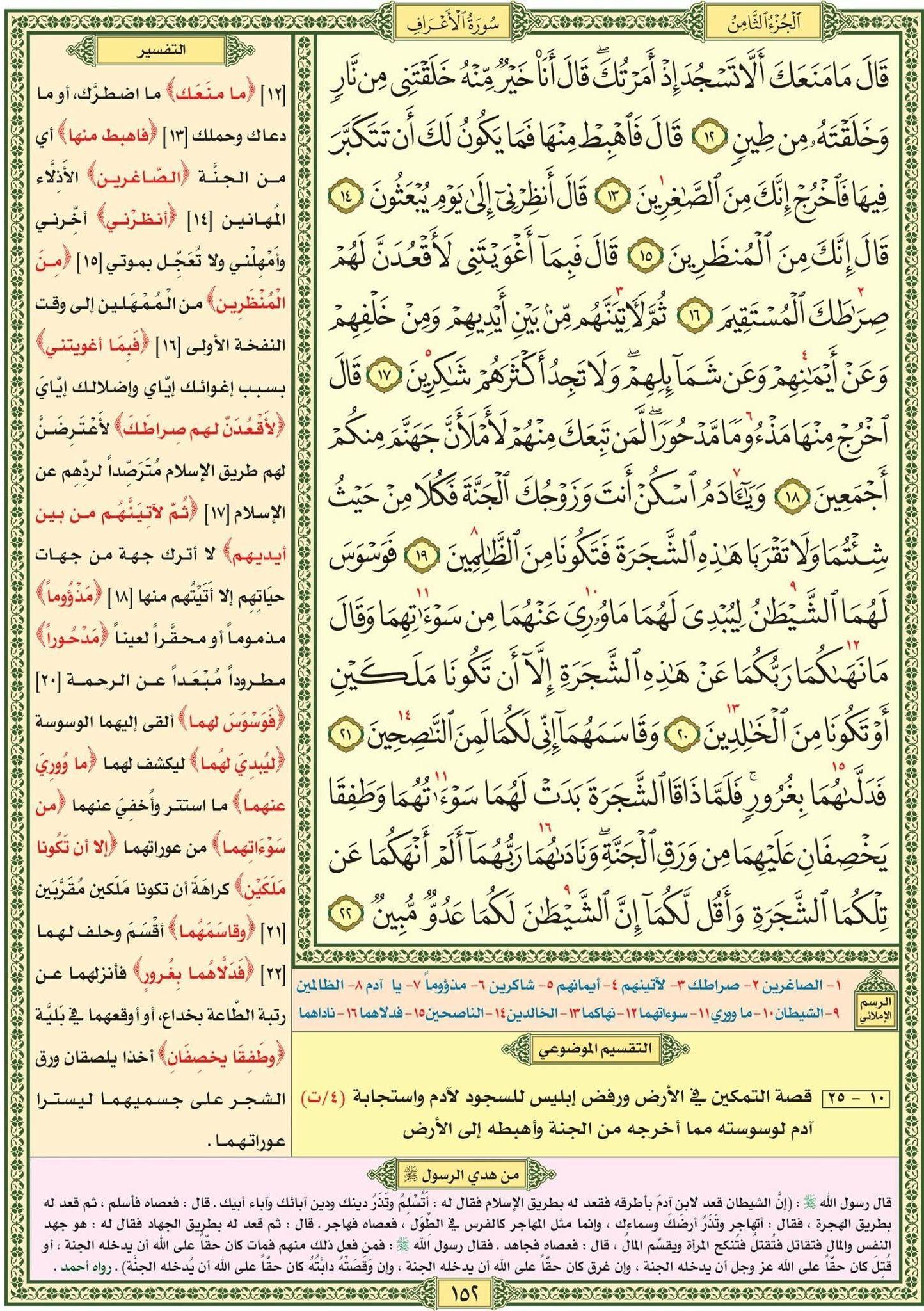الأعراف ١٢ ٢٢ صفحة رقم ١٥١ مصحف التقسيم الموضوعي Bullet Journal Quran Periodic Table