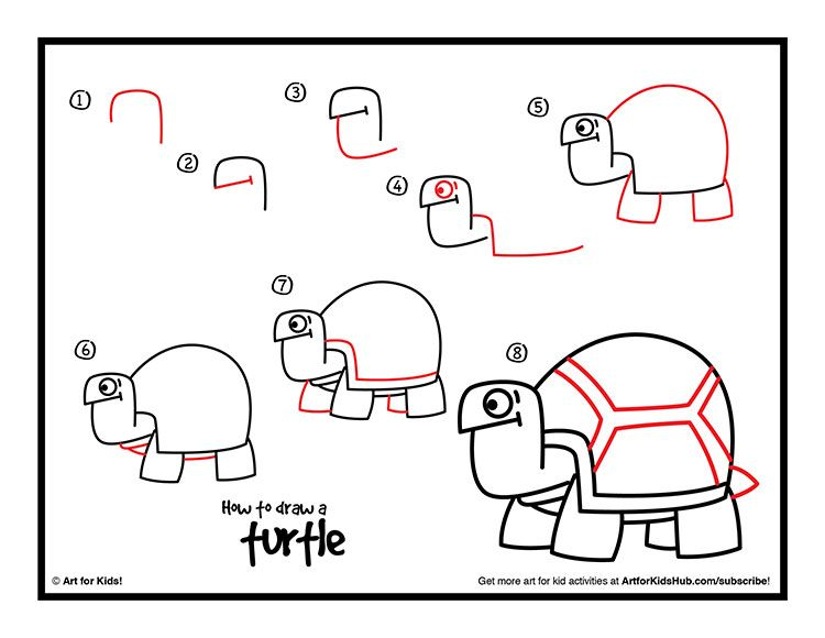 how to draw a turtle - art for kids hub