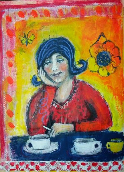 Two frieded cups, haha - Artjournaling with Piarom AJP 80
