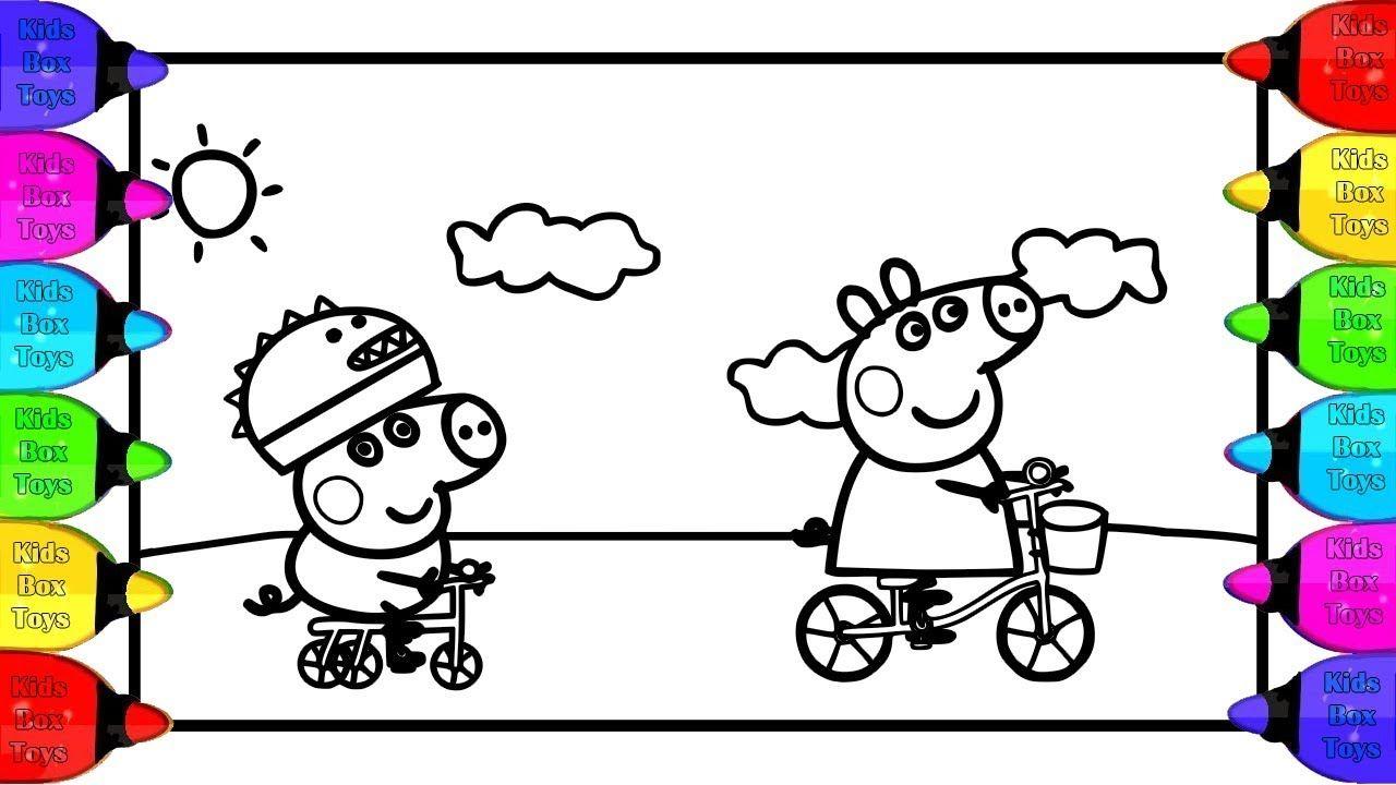 Coloring Peppa Pig George Bicycles Coloring Page Bicycle