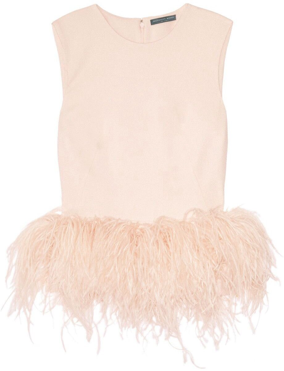 Alexander McQueen Silk-cady and feather top