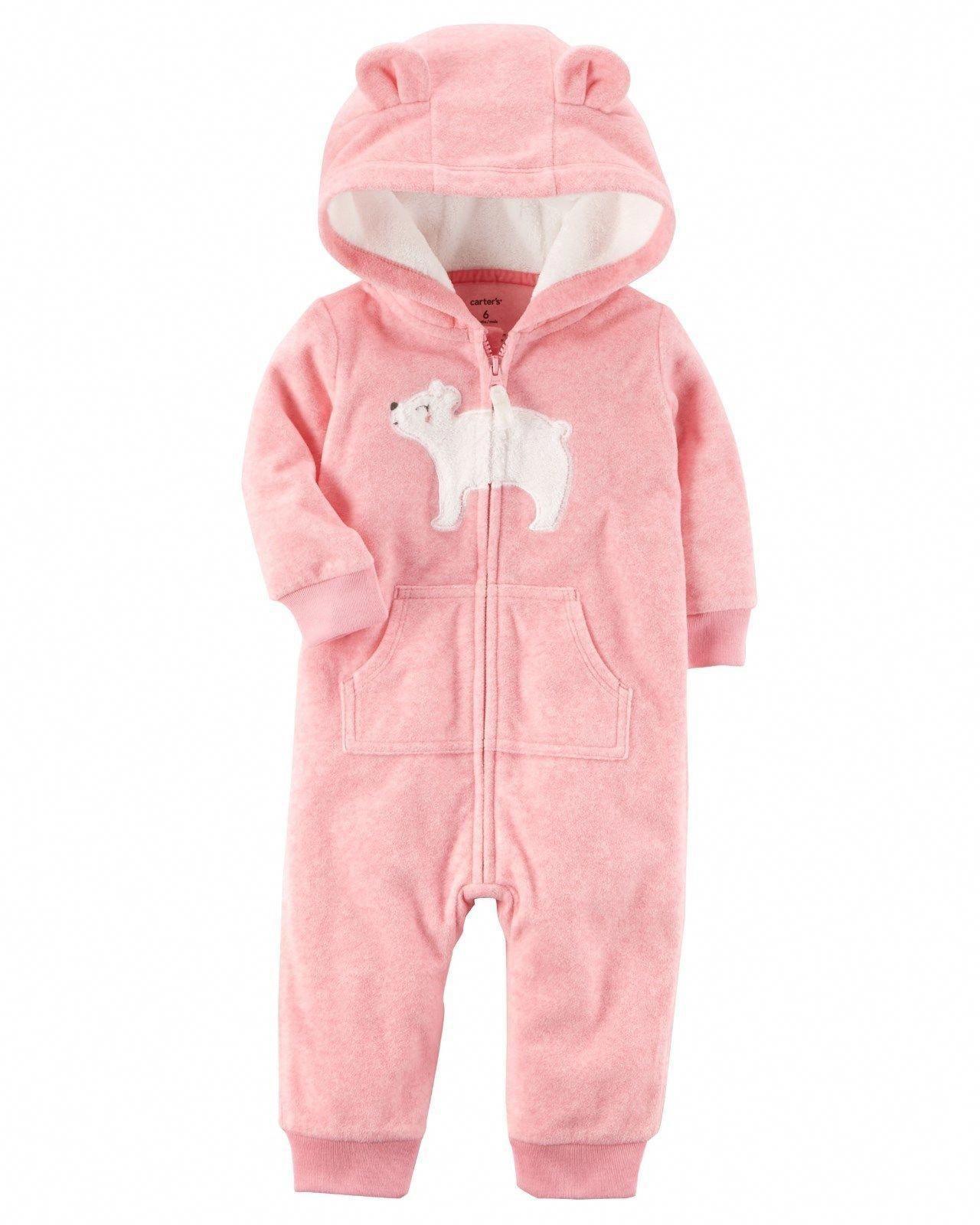 9883be056701 Carter s 1 Piece Fleece Romper Pink Bear Ears Nwt 3M 6M 9M 12M 18 ...