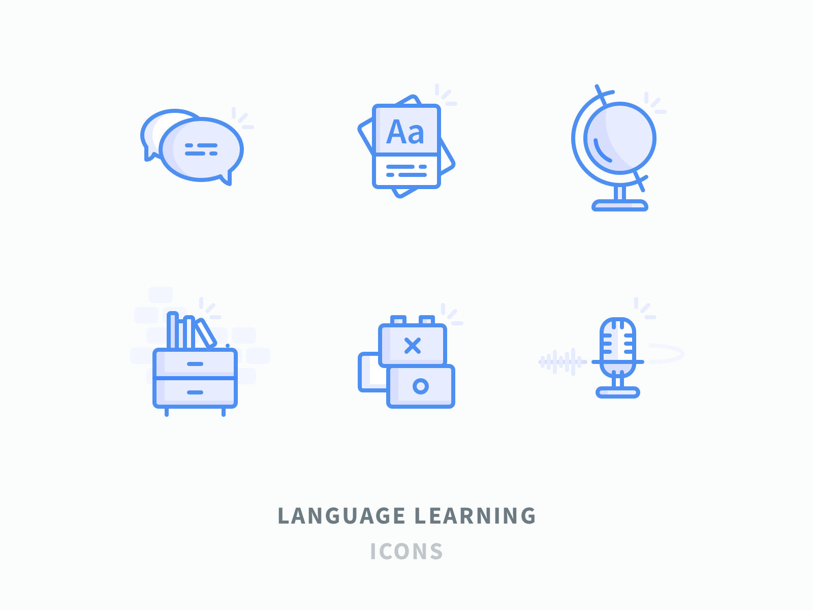 Language Learning Icons Blue 2x Png By Volkan Gunal