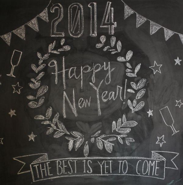 chalkboard new years message