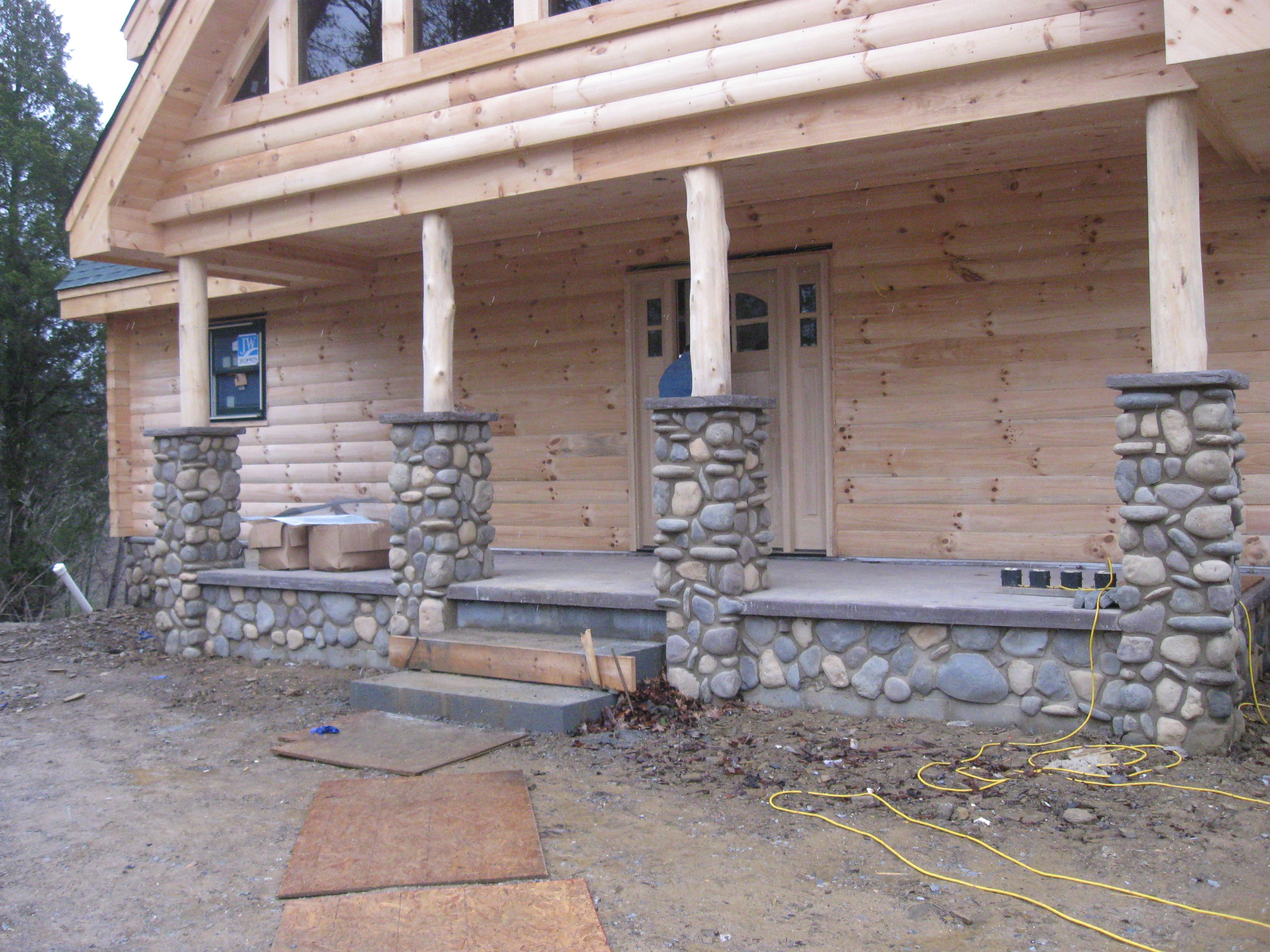River Rock Porch With Columns Stone Porches Front Porch