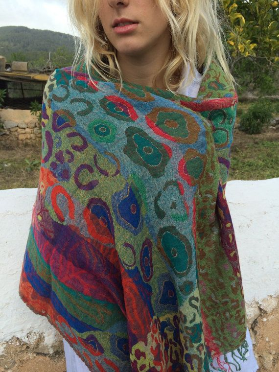 Cosy merino wool shawl in happy chakra colour flower by AUROBELLE